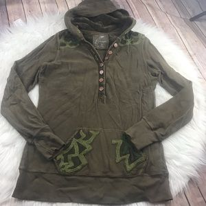 Free People embroidered hoodie size small